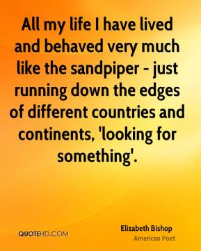 All my life I have lived and behaved very much like the sandpiper - just running down the edges of different countries and continents, 'looking for something'.