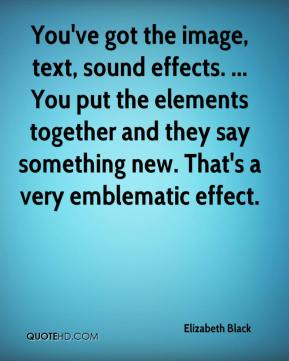 Elizabeth Black - You've got the image, text, sound effects. ... You put the elements together and they say something new. That's a very emblematic effect.