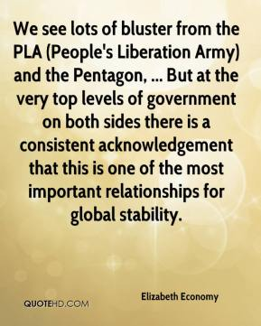 Elizabeth Economy - We see lots of bluster from the PLA (People's Liberation Army) and the Pentagon, ... But at the very top levels of government on both sides there is a consistent acknowledgement that this is one of the most important relationships for global stability.