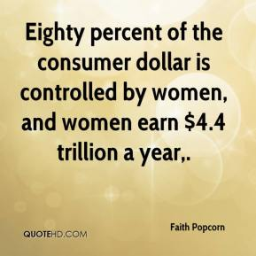 Faith Popcorn - Eighty percent of the consumer dollar is controlled by women, and women earn $4.4 trillion a year.