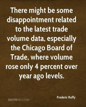 Frederic Ruffy - There might be some disappointment related to the latest trade volume data, especially the Chicago Board of Trade, where volume rose only 4 percent over year ago levels.