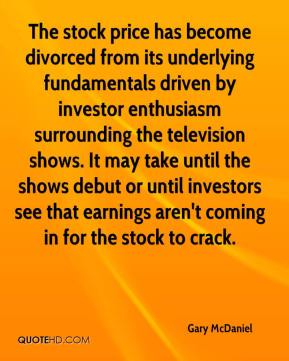 Gary McDaniel - The stock price has become divorced from its underlying fundamentals driven by investor enthusiasm surrounding the television shows. It may take until the shows debut or until investors see that earnings aren't coming in for the stock to crack.