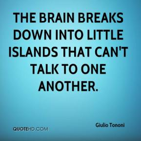 The brain breaks down into little islands that can't talk to one another.