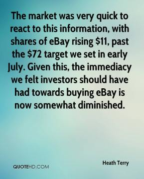 Heath Terry - The market was very quick to react to this information, with shares of eBay rising $11, past the $72 target we set in early July. Given this, the immediacy we felt investors should have had towards buying eBay is now somewhat diminished.