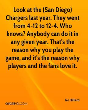 Ike Hilliard - Look at the (San Diego) Chargers last year. They went from 4-12 to 12-4. Who knows? Anybody can do it in any given year. That's the reason why you play the game, and it's the reason why players and the fans love it.