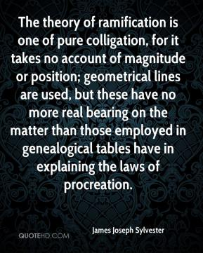 James Joseph Sylvester - The theory of ramification is one of pure colligation, for it takes no account of magnitude or position; geometrical lines are used, but these have no more real bearing on the matter than those employed in genealogical tables have in explaining the laws of procreation.