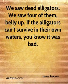 We saw dead alligators. We saw four of them, belly up. If the alligators can't survive in their own waters, you know it was bad.