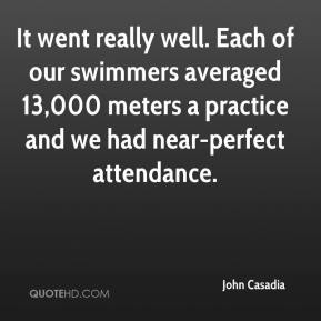 It went really well. Each of our swimmers averaged 13,000 meters a practice and we had near-perfect attendance.
