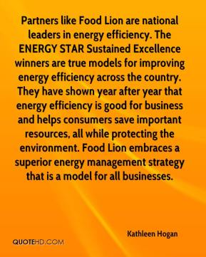 Partners like Food Lion are national leaders in energy efficiency. The ENERGY STAR Sustained Excellence winners are true models for improving energy efficiency across the country. They have shown year after year that energy efficiency is good for business and helps consumers save important resources, all while protecting the environment. Food Lion embraces a superior energy management strategy that is a model for all businesses.