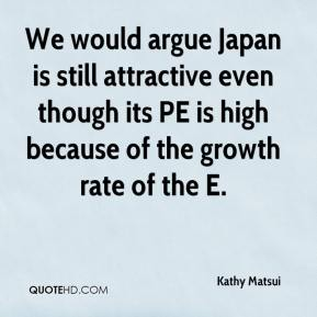 Kathy Matsui  - We would argue Japan is still attractive even though its PE is high because of the growth rate of the E.