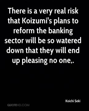 Koichi Seki  - There is a very real risk that Koizumi's plans to reform the banking sector will be so watered down that they will end up pleasing no one.