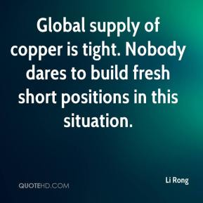 Li Rong  - Global supply of copper is tight. Nobody dares to build fresh short positions in this situation.