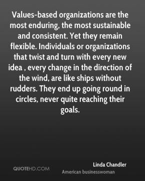 Linda Chandler  - Values-based organizations are the most enduring, the most sustainable and consistent. Yet they remain flexible. Individuals or organizations that twist and turn with every new idea , every change in the direction of the wind, are like ships without rudders. They end up going round in circles, never quite reaching their goals.