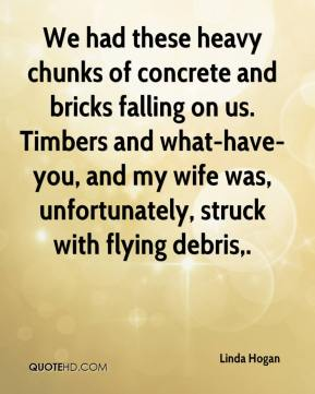 Linda Hogan  - We had these heavy chunks of concrete and bricks falling on us. Timbers and what-have-you, and my wife was, unfortunately, struck with flying debris.
