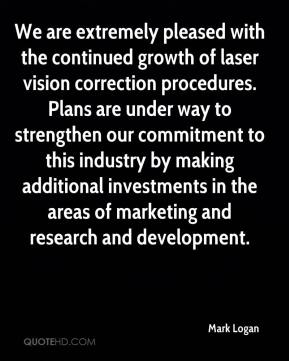 Mark Logan  - We are extremely pleased with the continued growth of laser vision correction procedures. Plans are under way to strengthen our commitment to this industry by making additional investments in the areas of marketing and research and development.