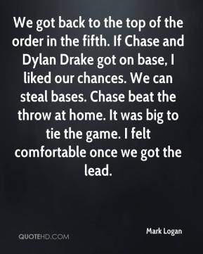 We got back to the top of the order in the fifth. If Chase and Dylan Drake got on base, I liked our chances. We can steal bases. Chase beat the throw at home. It was big to tie the game. I felt comfortable once we got the lead.