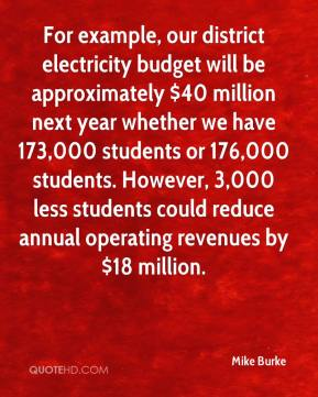 Mike Burke  - For example, our district electricity budget will be approximately $40 million next year whether we have 173,000 students or 176,000 students. However, 3,000 less students could reduce annual operating revenues by $18 million.