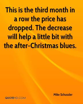 Mike Schussler  - This is the third month in a row the price has dropped. The decrease will help a little bit with the after-Christmas blues.