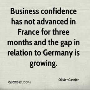 Olivier Gasnier  - Business confidence has not advanced in France for three months and the gap in relation to Germany is growing.