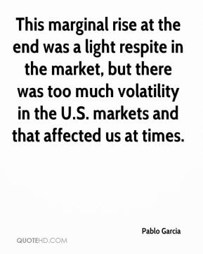 Pablo Garcia  - This marginal rise at the end was a light respite in the market, but there was too much volatility in the U.S. markets and that affected us at times.