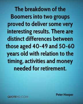 Peter Hooper  - The breakdown of the Boomers into two groups proved to deliver some very interesting results. There are distinct differences between those aged 40-49 and 50-60 years old with relation to the timing, activities and money needed for retirement.