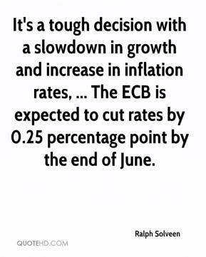 Ralph Solveen  - It's a tough decision with a slowdown in growth and increase in inflation rates, ... The ECB is expected to cut rates by 0.25 percentage point by the end of June.