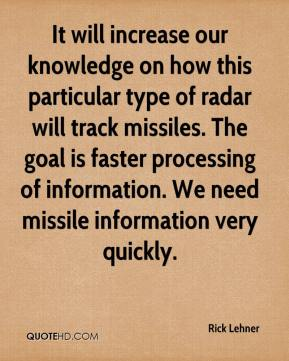 It will increase our knowledge on how this particular type of radar will track missiles. The goal is faster processing of information. We need missile information very quickly.