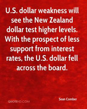 Sean Comber  - U.S. dollar weakness will see the New Zealand dollar test higher levels. With the prospect of less support from interest rates, the U.S. dollar fell across the board.
