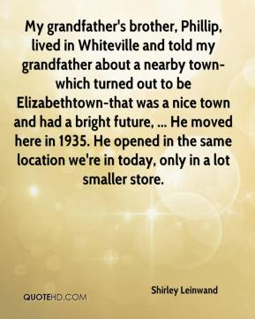 My grandfather's brother, Phillip, lived in Whiteville and told my grandfather about a nearby town-which turned out to be Elizabethtown-that was a nice town and had a bright future, ... He moved here in 1935. He opened in the same location we're in today, only in a lot smaller store.