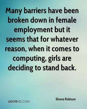 Many barriers have been broken down in female employment but it seems that for whatever reason, when it comes to computing, girls are deciding to stand back.