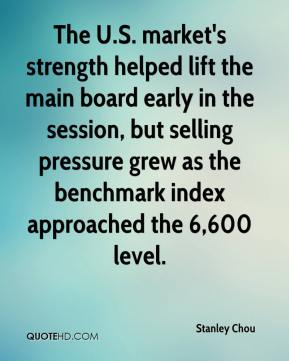 Stanley Chou  - The U.S. market's strength helped lift the main board early in the session, but selling pressure grew as the benchmark index approached the 6,600 level.