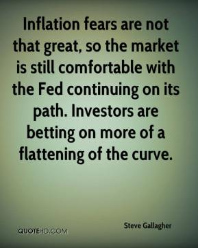 Steve Gallagher  - Inflation fears are not that great, so the market is still comfortable with the Fed continuing on its path. Investors are betting on more of a flattening of the curve.