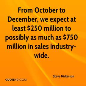 From October to December, we expect at least $250 million to possibly as much as $750 million in sales industry-wide.