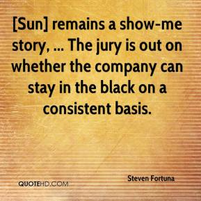 Steven Fortuna  - [Sun] remains a show-me story, ... The jury is out on whether the company can stay in the black on a consistent basis.