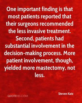 Steven Katz  - One important finding is that most patients reported that their surgeons recommended the less invasive treatment. Second, patients had substantial involvement in the decision-making process. More patient involvement, though, yielded more mastectomy, not less.