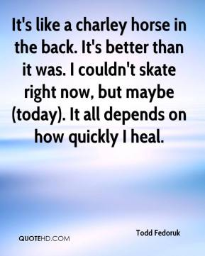 Todd Fedoruk  - It's like a charley horse in the back. It's better than it was. I couldn't skate right now, but maybe (today). It all depends on how quickly I heal.