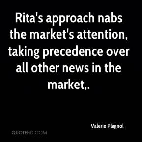 Rita's approach nabs the market's attention, taking precedence over all other news in the market.