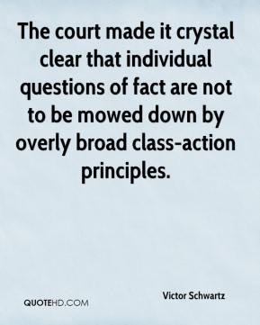 Victor Schwartz  - The court made it crystal clear that individual questions of fact are not to be mowed down by overly broad class-action principles.