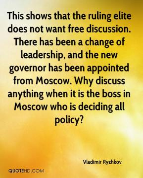 Vladimir Ryzhkov  - This shows that the ruling elite does not want free discussion. There has been a change of leadership, and the new governor has been appointed from Moscow. Why discuss anything when it is the boss in Moscow who is deciding all policy?