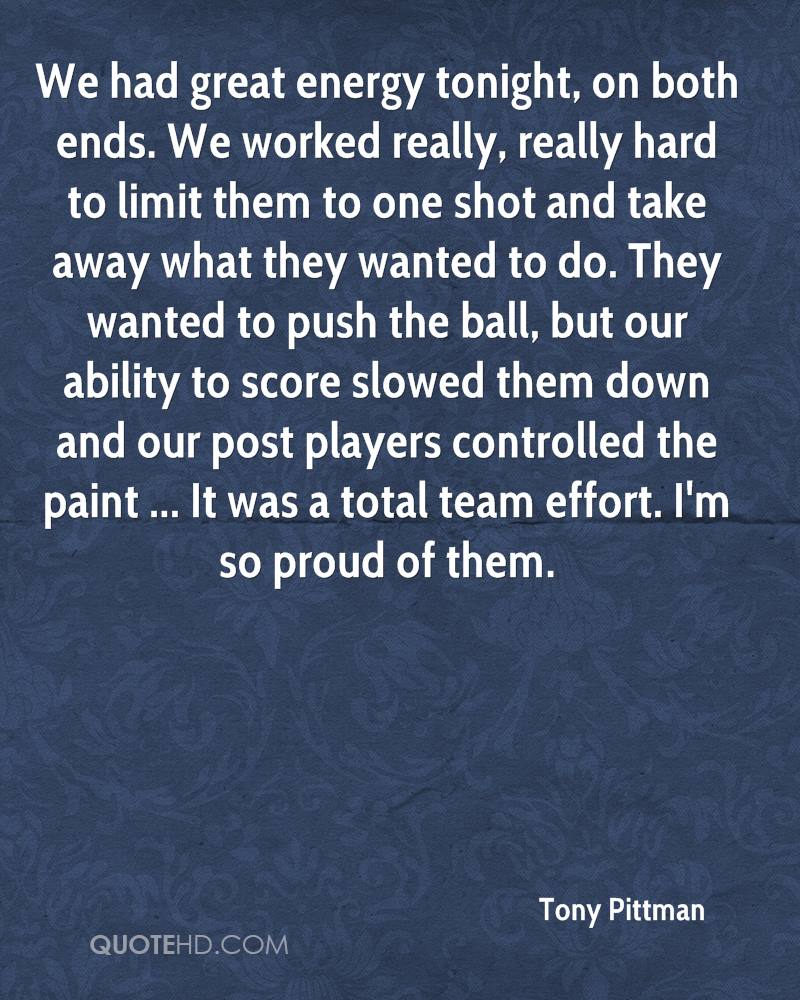 We had great energy tonight, on both ends. We worked really, really hard to limit them to one shot and take away what they wanted to do. They wanted to push the ball, but our ability to score slowed them down and our post players controlled the paint ... It was a total team effort. I'm so proud of them.