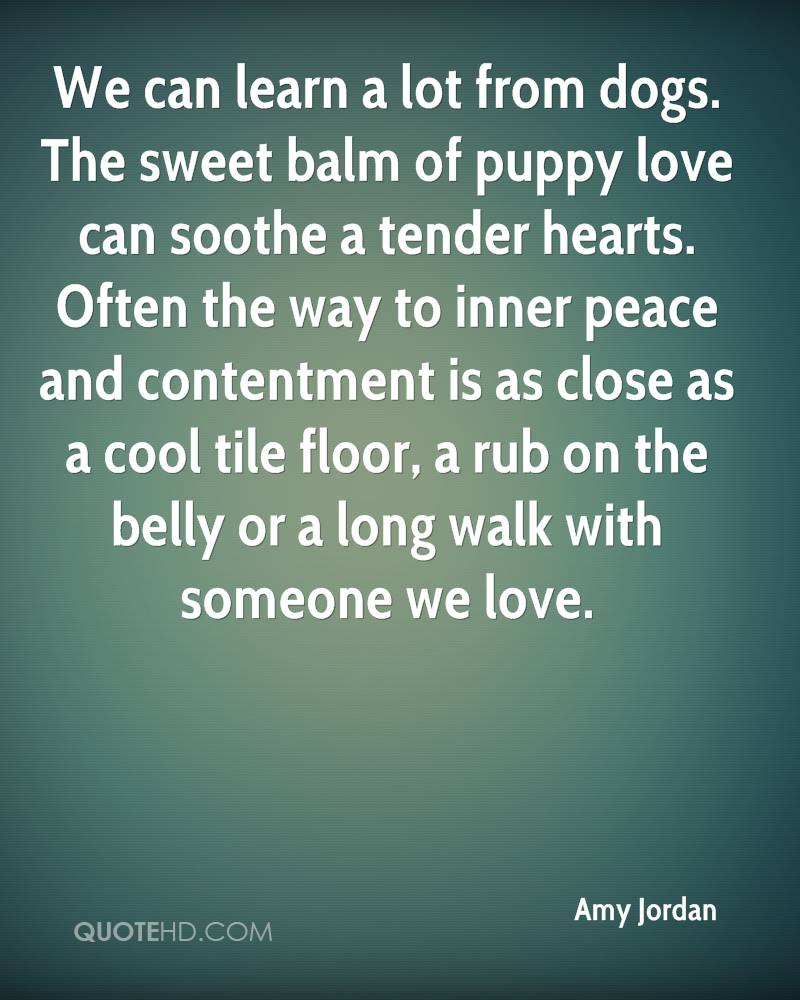 We can learn a lot from dogs. The sweet balm of puppy love can soothe a tender hearts. Often the way to inner peace and contentment is as close as a cool tile floor, a rub on the belly or a long walk with someone we love.
