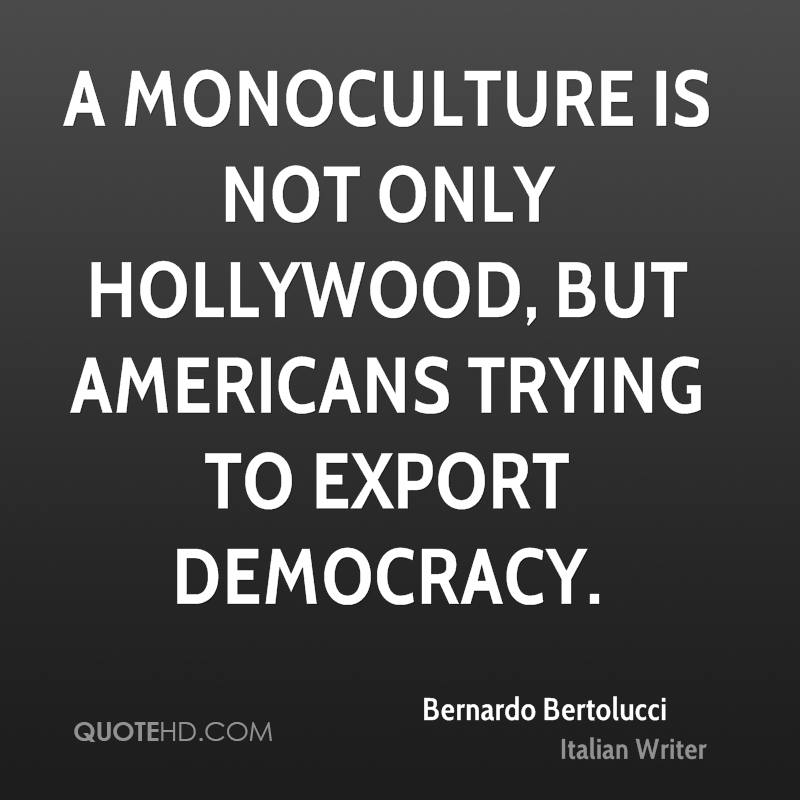 A monoculture is not only Hollywood, but Americans trying to export democracy.