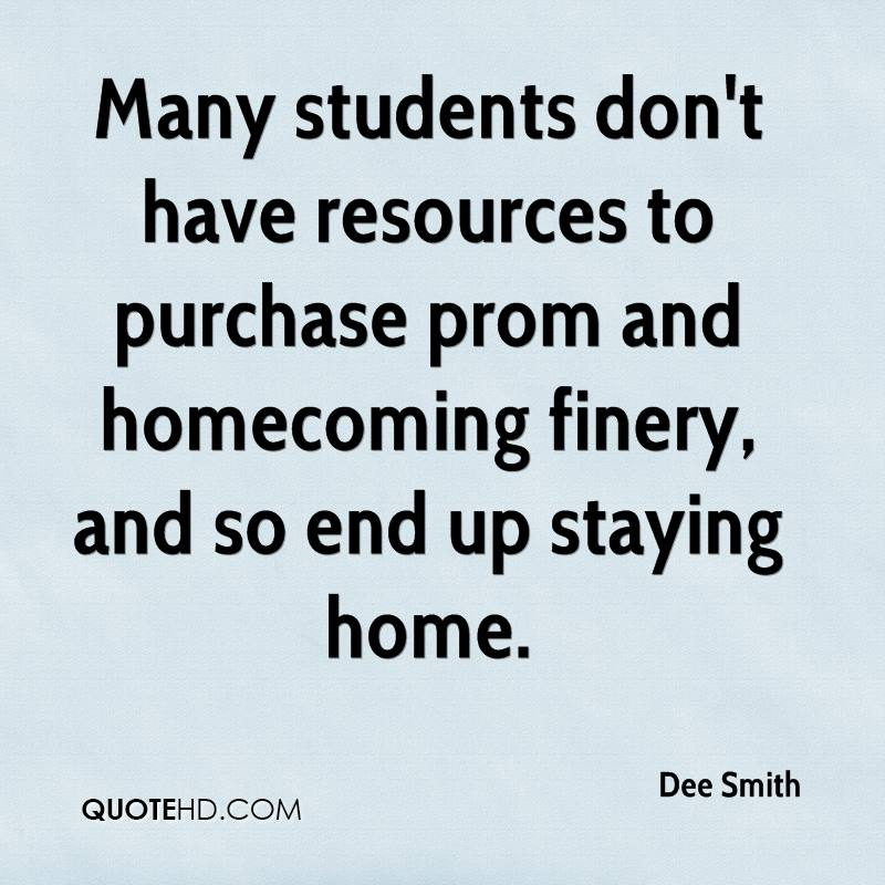 Many students don't have resources to purchase prom and homecoming finery, and so end up staying home.