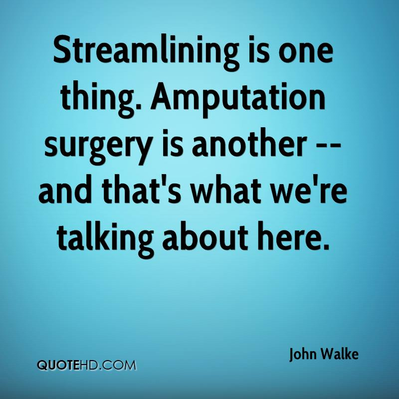 Streamlining is one thing. Amputation surgery is another -- and that's what we're talking about here.