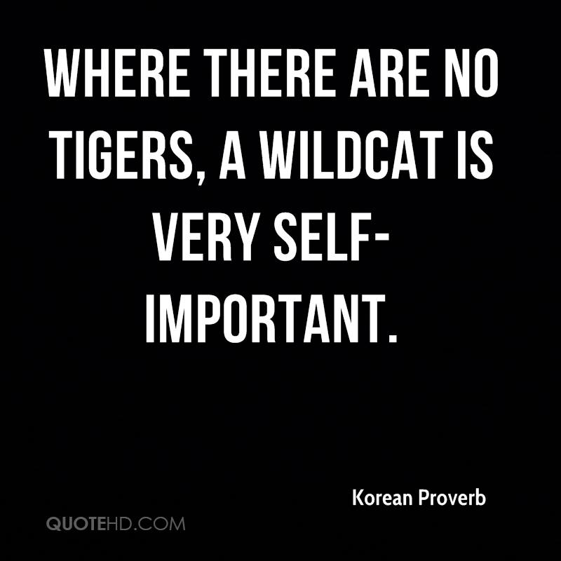 Where there are no tigers, a wildcat is very self-important.