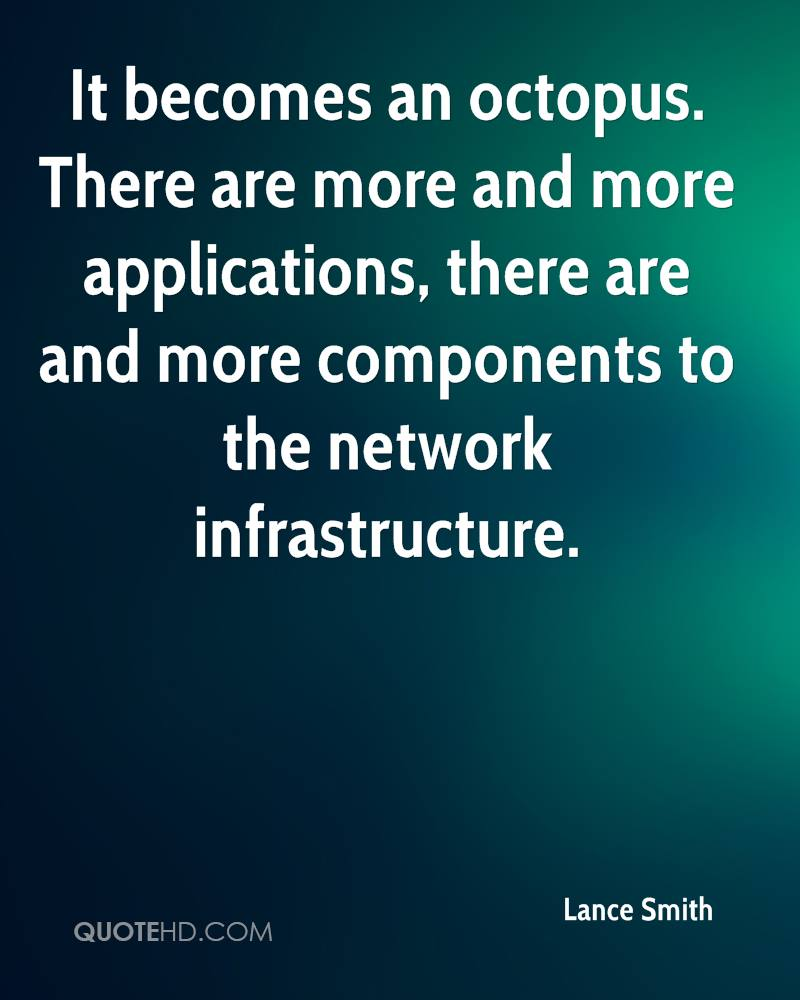 It becomes an octopus. There are more and more applications, there are and more components to the network infrastructure.
