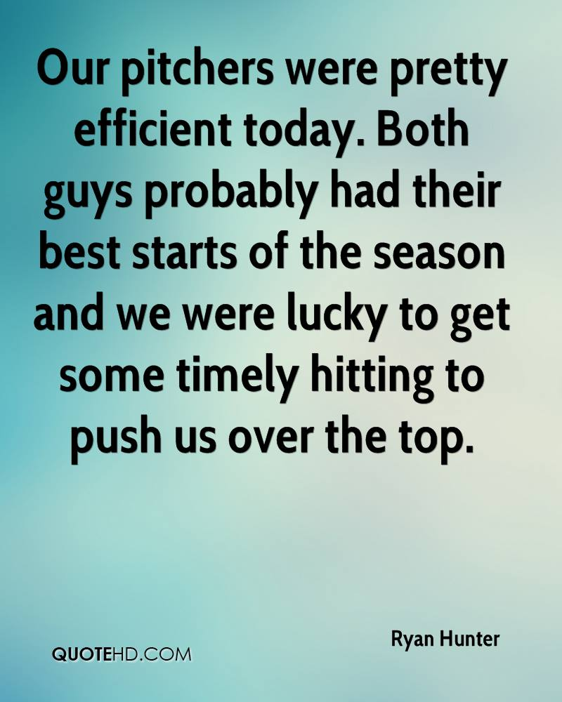 Our pitchers were pretty efficient today. Both guys probably had their best starts of the season and we were lucky to get some timely hitting to push us over the top.