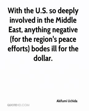 With the U.S. so deeply involved in the Middle East, anything negative (for the region's peace efforts) bodes ill for the dollar.