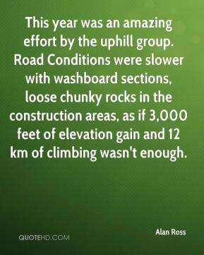 Alan Ross - This year was an amazing effort by the uphill group. Road Conditions were slower with washboard sections, loose chunky rocks in the construction areas, as if 3,000 feet of elevation gain and 12 km of climbing wasn't enough.