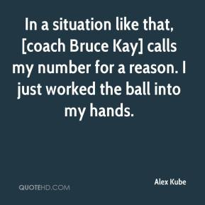 Alex Kube - In a situation like that, [coach Bruce Kay] calls my number for a reason. I just worked the ball into my hands.